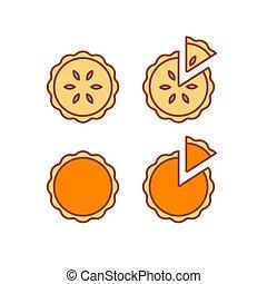 ensemble, tarte, icônes