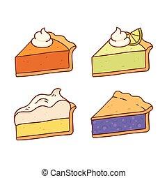 ensemble, tarte, tranches