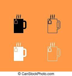 ensemble, tasse, thé, chaud, noir, blanc, icône