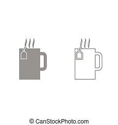 ensemble, tasse, thé, gris, chaud, icône