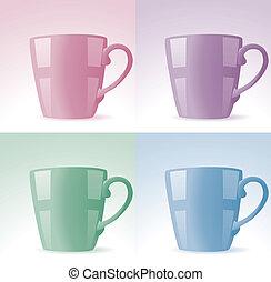 ensemble, tasses, coloré, vecteur