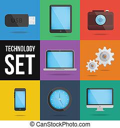 ensemble, technologie, appareils, icônes