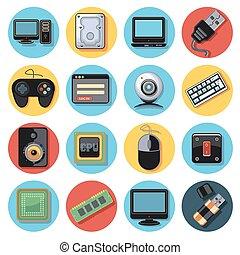 ensemble, technologie, icône