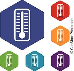 ensemble, température, icônes, élevé, indique, thermomètre