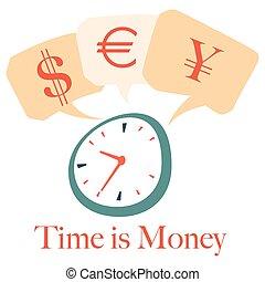 ensemble, temps, argent, horloge, vecteur, monnaie