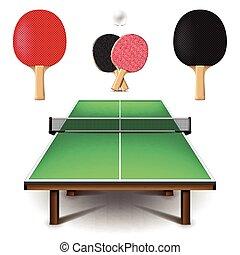 ensemble, tennis, isolé, vecteur, table, blanc