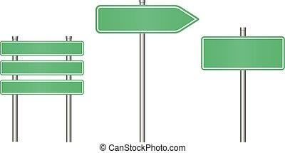 ensemble, text., signe, réaliste, gabarit, route
