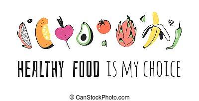 ensemble, texte, words., griffonnage, positif, eco, dessiné, amical, légumes, nourriture, quote., illustration, main, vegan, choix, sain, végétarien, vecteur, artistique, fruits, mon, dessin