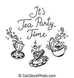 ensemble, thé, trois, il, time., objets, fête, dessiné, main