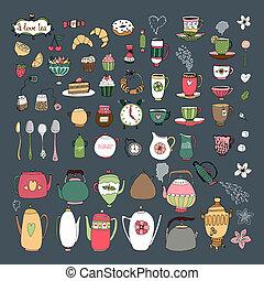 ensemble, théières, grand, bonbons, teacups, pâtisseries