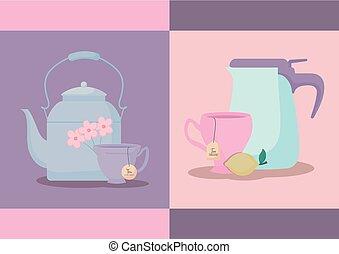 ensemble, théières, thé, isolé, tasses, icône
