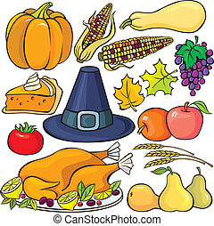ensemble, thanksgiving, jour, icône