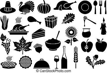 ensemble, thanksgiving, jour, icônes