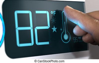ensemble, thermostat, fahrenheit, contrôleur, degrés, numérique, 82, température