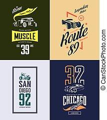 ensemble, tige, classique, vendange, isolé, t-shirt, chaud, vecteur, motocyclette, voiture, logo