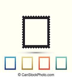 ensemble, timbre, isolé, icons., arrière-plan., couleur, vecteur, illustration, blanc, postal, éléments, icône