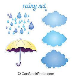 ensemble, ton, rain., icônes