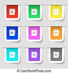 ensemble, ton, signe., étiquettes, moderne, multicolore, téléphone, vecteur, adresse, cahier, icône, livre, design.