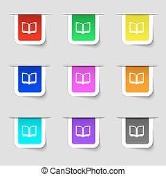 ensemble, ton, signe., étiquettes, moderne, multicolore, vecteur, icône, livre ouvert, design.