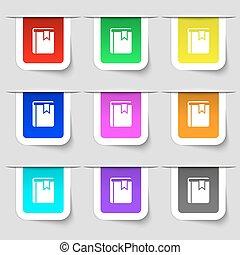 ensemble, ton, signet, signe., moderne, multicolore, étiquettes, vecteur, icône, livre, design.