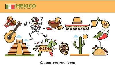ensemble, touriste, mexique, attractions, voyage, symboles,...
