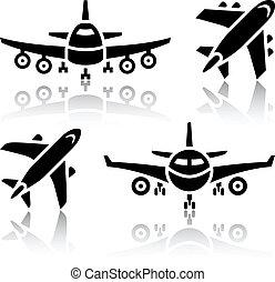 ensemble, -, transport, avion, icônes