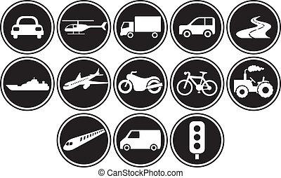 ensemble, transport, icônes