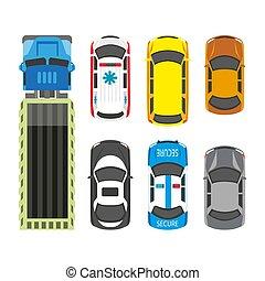 ensemble, transport, moyens, isolé, couleurs, blanc