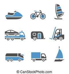 ensemble, -, transport, troisième, icônes