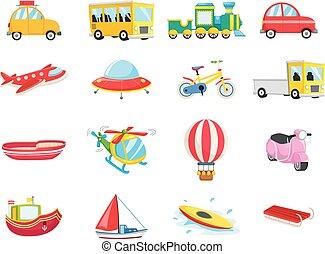 ensemble, transport, véhicules
