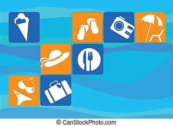 ensemble, transport, voyager, icône