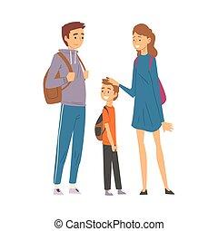 ensemble, trekking, père, randonnée, voyager, aventures, mère, fils, famille, heureux, actif, nature, illustration, vecteur, récréation