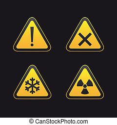 ensemble, triangulaire, avertissement