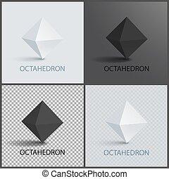 ensemble, tridimensionnel, octahedron, forme, avion, faces