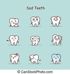 ensemble, triste, dessin animé, dent