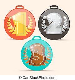 ensemble, troisième, seconde, vecteur, endroit, retro, médailles, premier