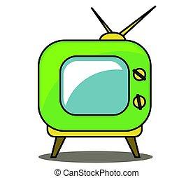ensemble, tv, arrière-plan., vert, retro, blanc