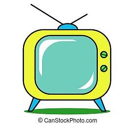 ensemble, tv, jaune, arrière-plan., retro, blanc