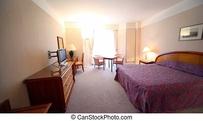 ensemble, tv, lampe, quelques-uns, mobilier chambre