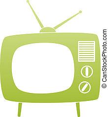 ensemble, tv, symbole, vecteur, vert, retro