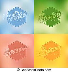 ensemble, typographie, quatre, vecteur, fond, saisons