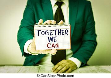 ensemble, une, écriture, conceptuel, vide, photo, possible, tient, main, devant, projection, business, can., papier, texte, groupe, lui, homme, puissant, copie, tout, espace, unité, boîte, space., marques, nous