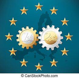 ensemble, une, deux, fonctionnement, euros