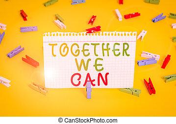 ensemble, une, vide, pince, possible, coloré, can., écriture, texte, rappel, groupe, bureau., signification, jaune, papiers, puissant, fond, tout, plancher, unité, boîte, concept, marques, nous