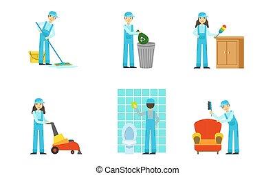 ensemble, uniforme, illustration., vecteur, nettoyeurs, work.