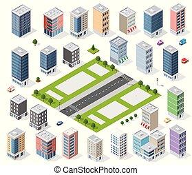 ensemble, urbain, district