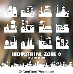 ensemble, usine, icônes