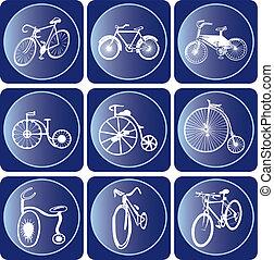ensemble, vélo, icône