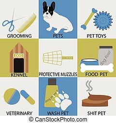 ensemble, vétérinaire, accessoires, soins personnels, pets., icône
