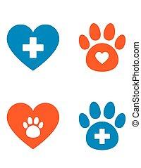 ensemble, vétérinaire, icônes